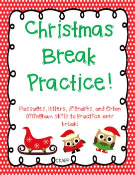 Christmas Practice Packet- Orton Gillingham Inspired