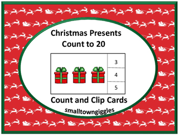 Christmas Presents Count to 20 Count and Clip Task Cards K