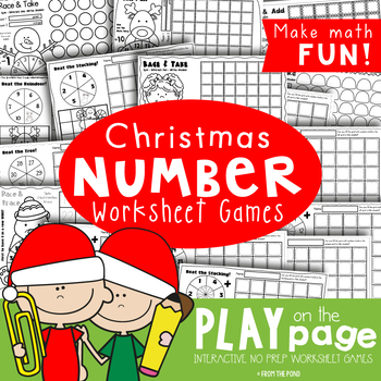 Christmas Print and Play Number Worksheets