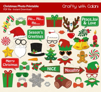 Christmas Printable Photo Booth Prop, 50 props for Christm