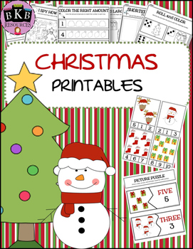 Christmas Activities ● No Prep ● Worksheets ● Number Puzzl