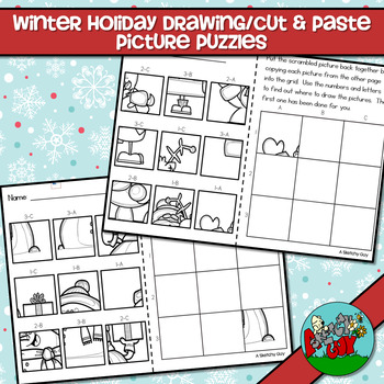Christmas Winter Holiday Drawing Picture Puzzles