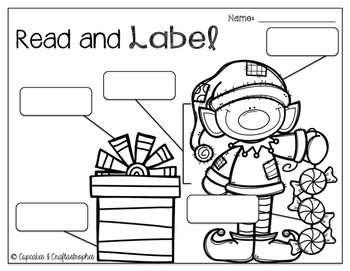 Christmas Read and Label-Work on Writing/Writing Center