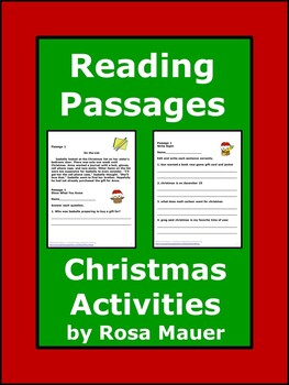 Christmas Literacy Reading Passages with WH Questions