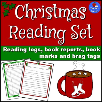Christmas Reading Logs, Book Reports, Book Marks and Brag Tags