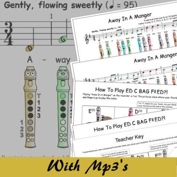 Christmas Recorder Sheet Music - Away In A Manger (Kirkpatrick)