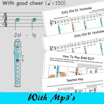 Christmas Recorder Sheet Music - Jolly Old St.Nicholas