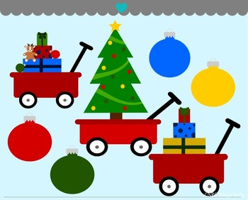 Christmas Red Wagons Clip Art