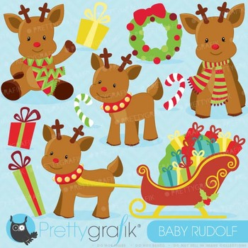 Christmas Reindeer clipart commercial use, vector graphics