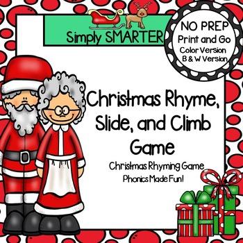 Christmas Rhyme, Slide, and Climb:  NO PREP Christmas Rhym