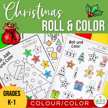 Christmas Roll and Color - Number and Shape Activities