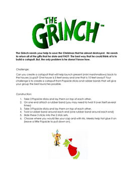 Christmas STEM Grinch Catapult