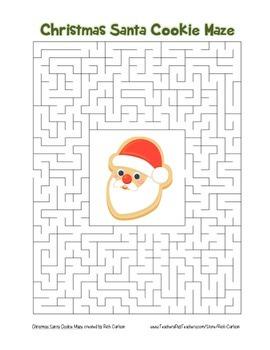 """""""Christmas Santa Cookie"""" Maze! Holiday FUN! (Color and Bla"""