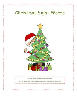 Christmas Santa Sight Words Common Core
