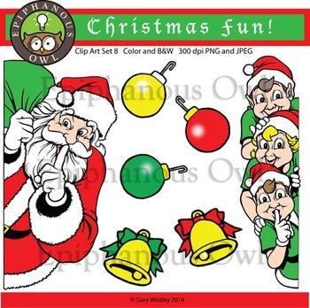 Christmas Santa and Elves Clip Art Set 8