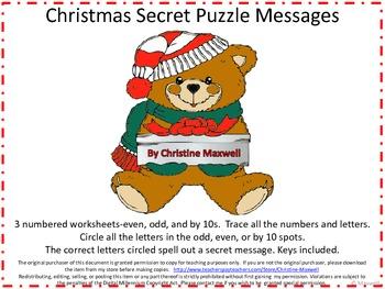 Christmas Number Letter Secret Puzzle Messages