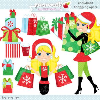 Christmas Shopping Spree BLONDE - Cute Digital Clipart, Ch