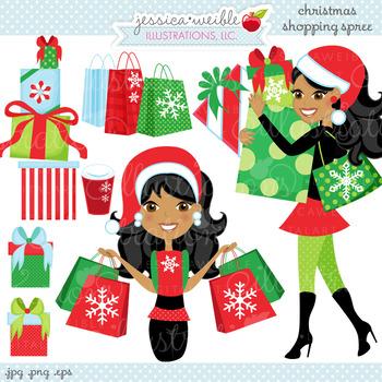 Christmas Shopping Spree DARK - Cute Digital Clipart, Chri