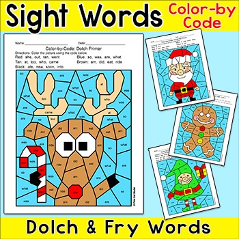 Christmas Activities Color by Sight Words: Santa, Rudolph,