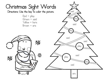 Christmas Sight Words Coloring
