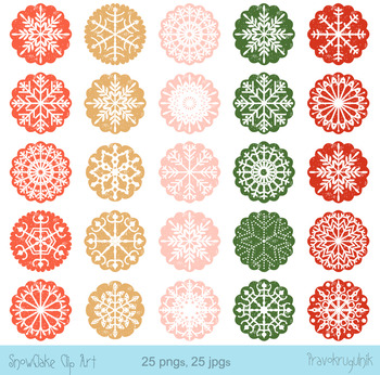 Christmas Snowflake Ornaments Clipart, Round Scalloped Cir