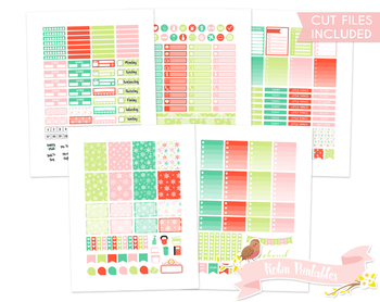 Christmas Snowflakes Printable Weekly Planner kit Stickers