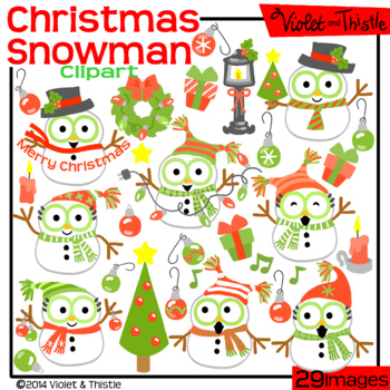 Christmas Snowmen Clipart Red and Green Christmas Clip Art