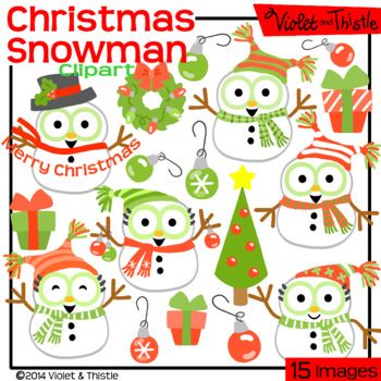 Christmas Snowmen Clipart Red and Green Set 2 Red and Gree