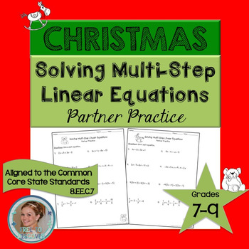 Christmas Solving Multi-Step Linear Equations Partner Practice