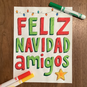 Christmas ~Spanish Feliz Navidad ~Word Wall ~bulletin boar