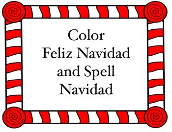 Christmas Spanish coloring worksheet and spelling tree (Fe