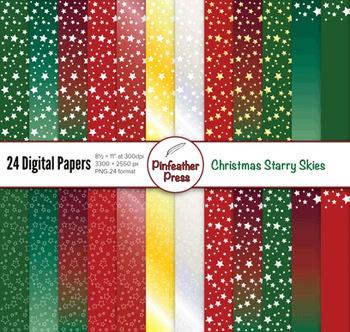 Christmas Starry Skies Digital Papers - 8.5x11