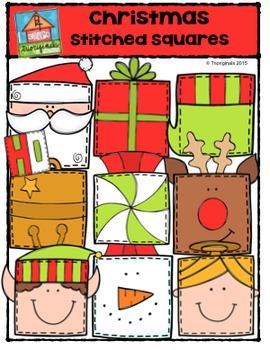 Christmas Stitched Squares {P4 Clips Trioriginals Digital