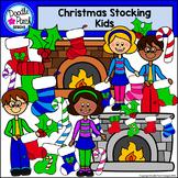 Christmas Stocking Kids Clip Art Set - Doodle Patch Designs