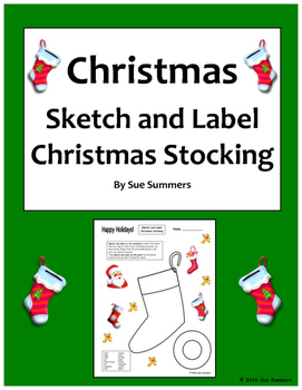 Christmas Stocking Sketch and Label in English
