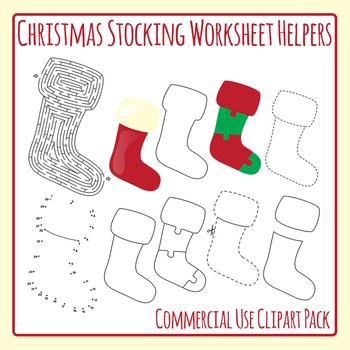 Christmas Stocking Worksheet Helpers Clip Art Pack for Com