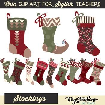 Christmas Stockings Clipart Set