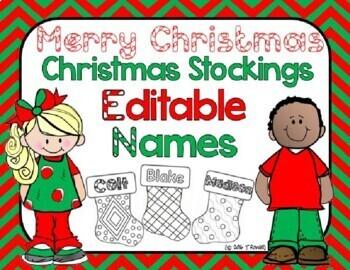 Christmas Stockings with Student Names - Editable