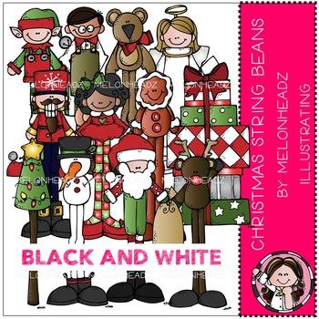 Melonheadz: Christmas String Beans clip art - BLACK AND WHITE