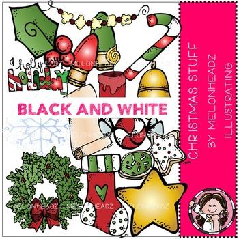 Melonheadz: Christmas Stuff clip art - BLACK AND WHITE