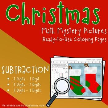 Christmas Math Subtraction, Christmas Subtraction Mystery