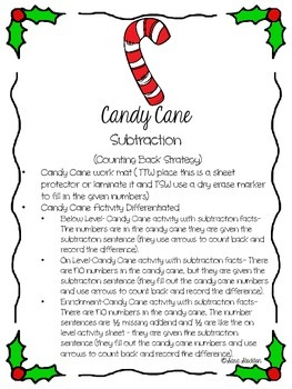 Christmas Subtraction (Counting Back Strategy)