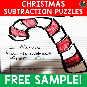 Christmas Subtraction Puzzles (Numbers Within 10) FREE SAMPLE