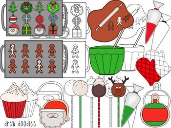 Christmas Sweets Digital Clip Art Set- Color and Black Line COMBO