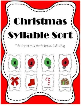Christmas Syllable Sort {A Phonemic Awareness Activity}