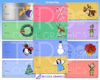 Christmas Tags, Digital, Printable, Holiday, Wrapping, Gif
