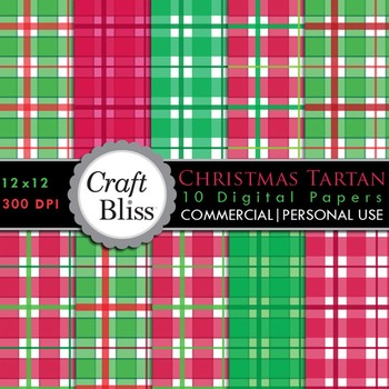 Christmas Tartan Red & Green Plaid Digital Papers Commerci