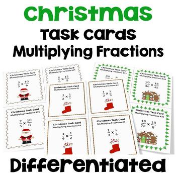 Christmas Multiplying Fractions Task Cards (3 Levels)