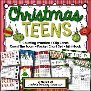 Christmas Teens --- Christmas Teen Number Math Center Game
