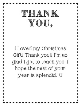 Christmas Thank You Gift Note